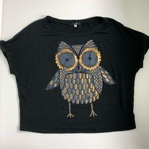 Soy Shine On You Black T-shirt Gold Owl size L